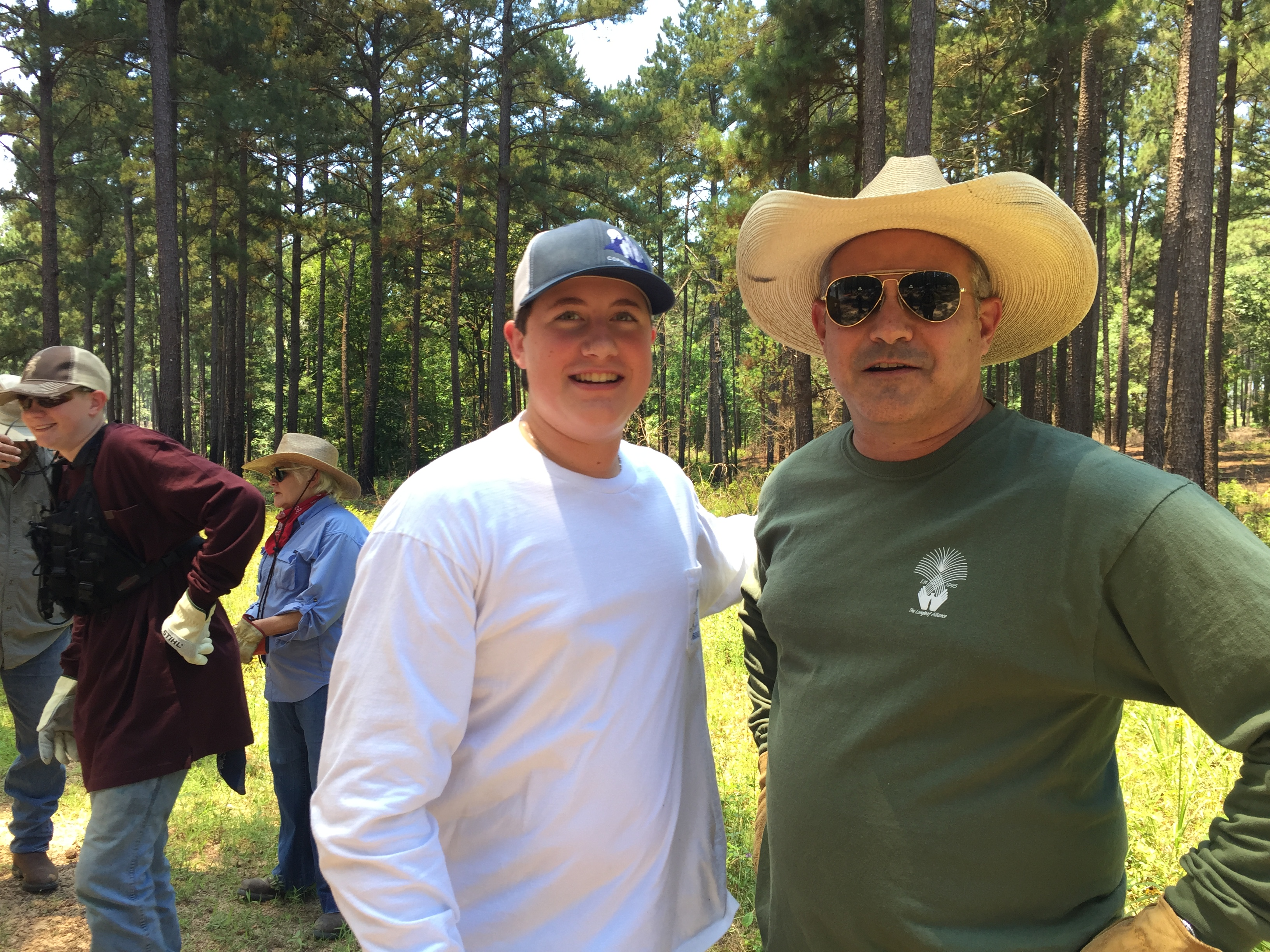 Trey Whitley and his son Cole attended the course to learn more about burning on their land for wildlife benefit and longleaf restoration. Photo credit: Kent Evans
